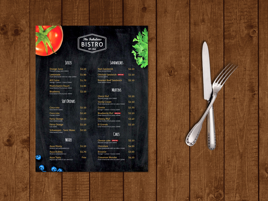 Bistro/Caffe Menu Template – Themzy Templates