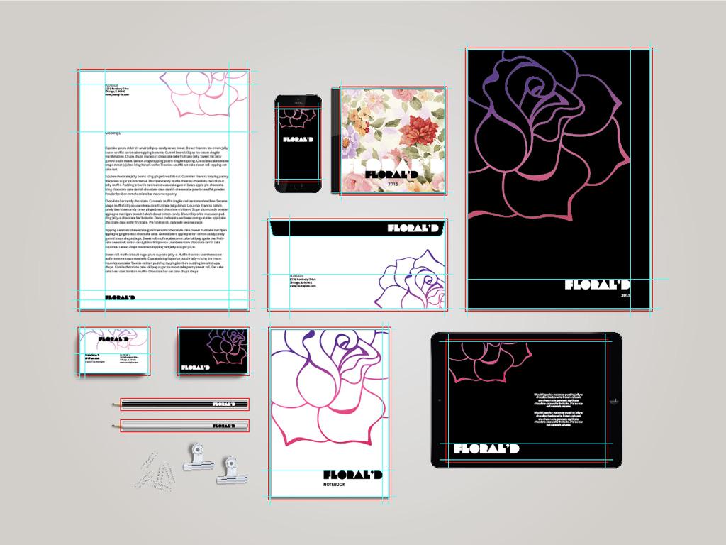 Floral Stationary Template + Mockup for Illustrator