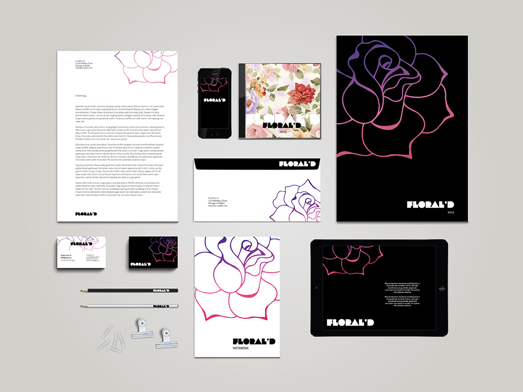 Floral Stationary Template + Mockup for Illustrator