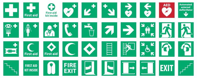 First-Aid - Vector safety signs